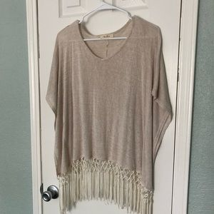 Black Bead Fringe Top